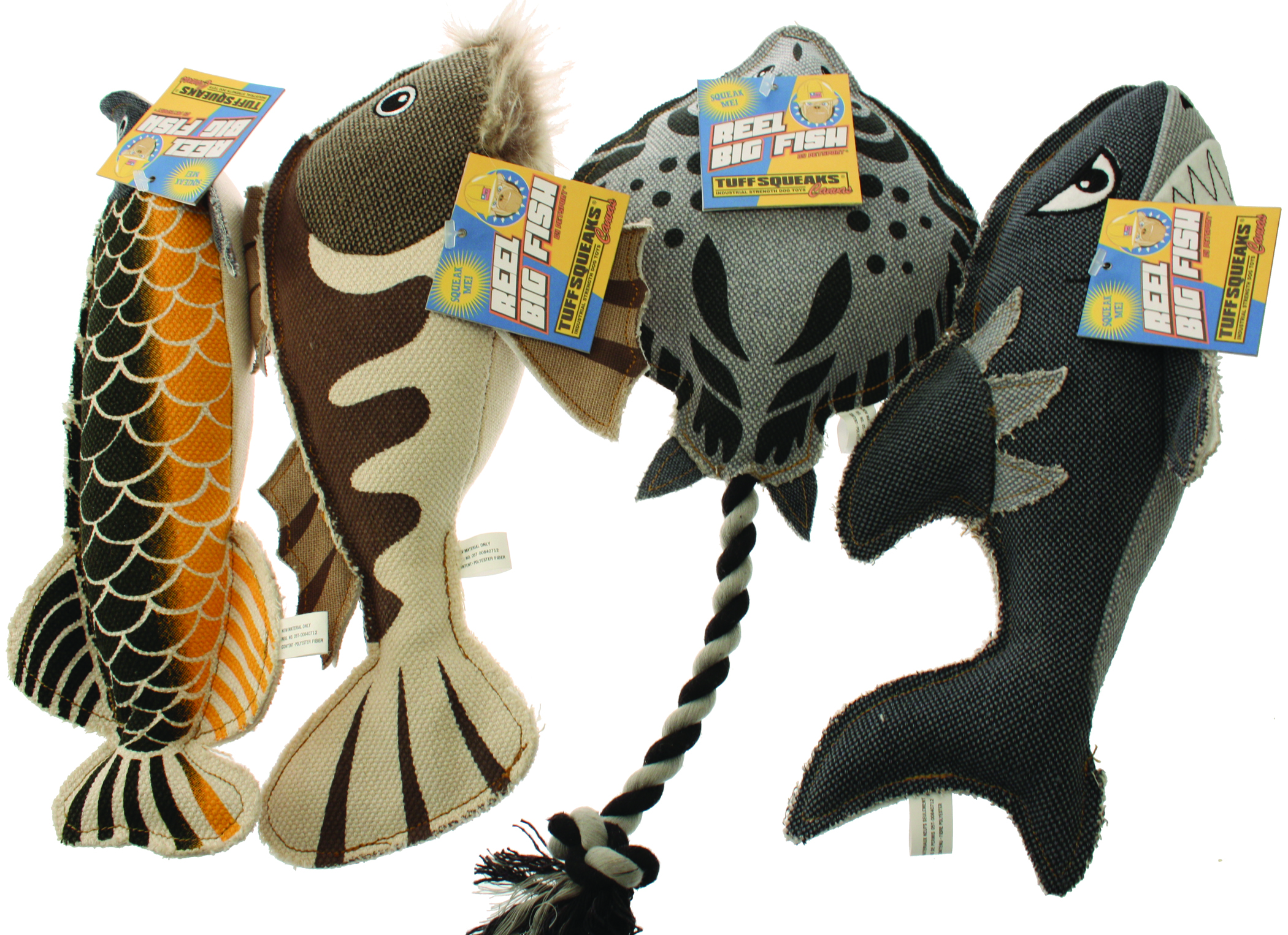 PETSPORT USA Tuff Squeaks Reel Big Fish Dog Toy