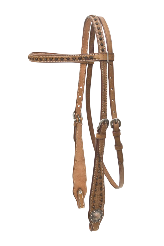 Cowboy Pro Basket Browband Headstall With Copper Conchos