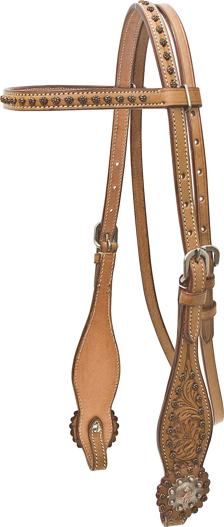Cowboy Pro Floral Tooled Brow Headstall With Barrel Racer