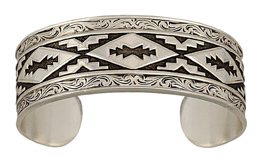 Montana Silversmiths Antiqued Aztec Steps Pattern Cuff Bracelet