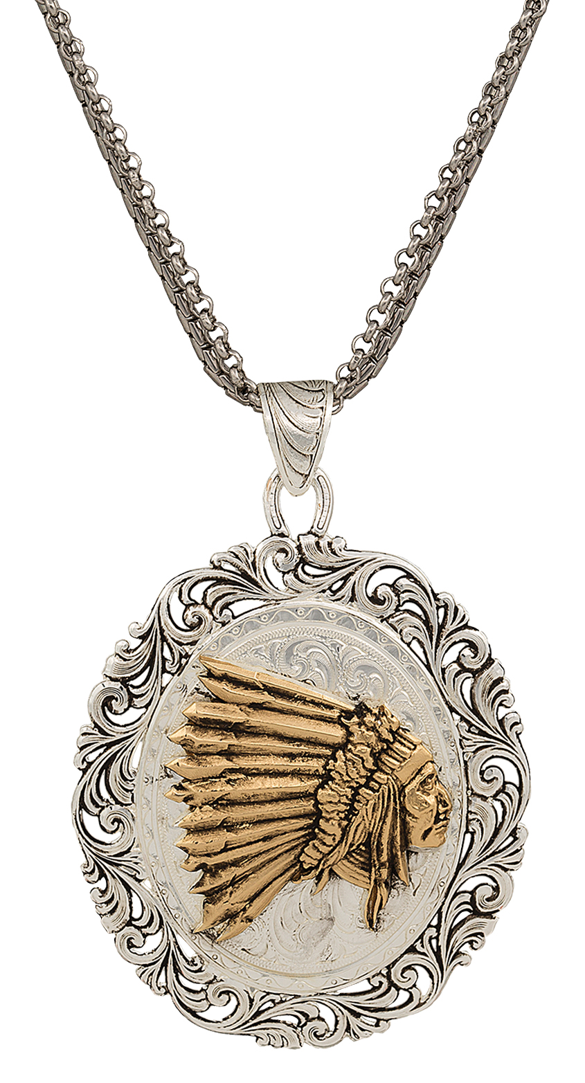 Montana Silversmiths Portrait Of Indian Chief Looking Forward Pendant Necklace