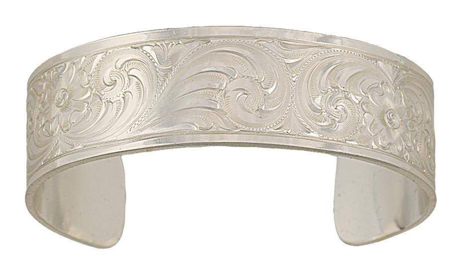 Montana Silversmiths Bright Cut Western Engraved Cuff Bracelet