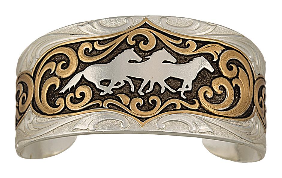 Montana Silversmiths Heirloom Gold Running Horses Cameo Cuff Bracelet