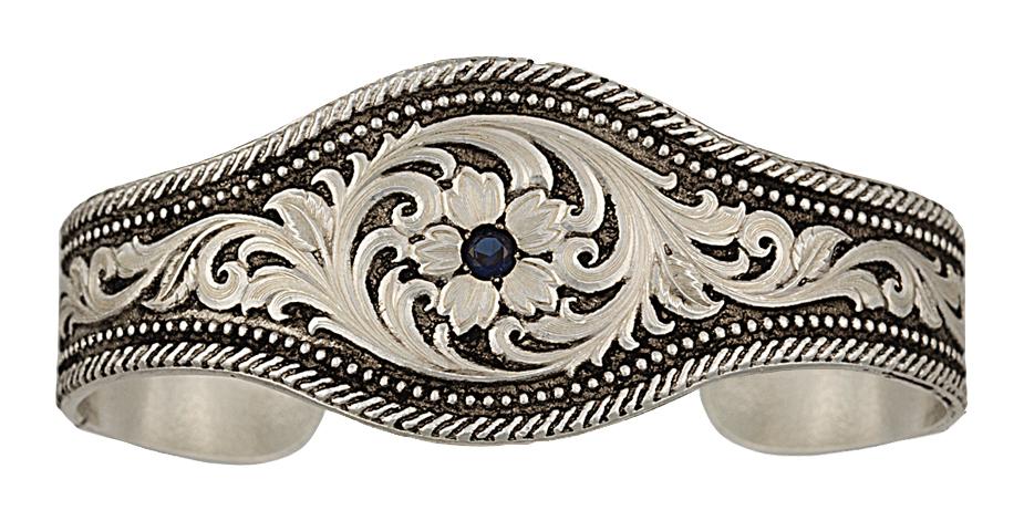 Montana Silversmiths True Blue Solitary Flower Cuff Bracelet