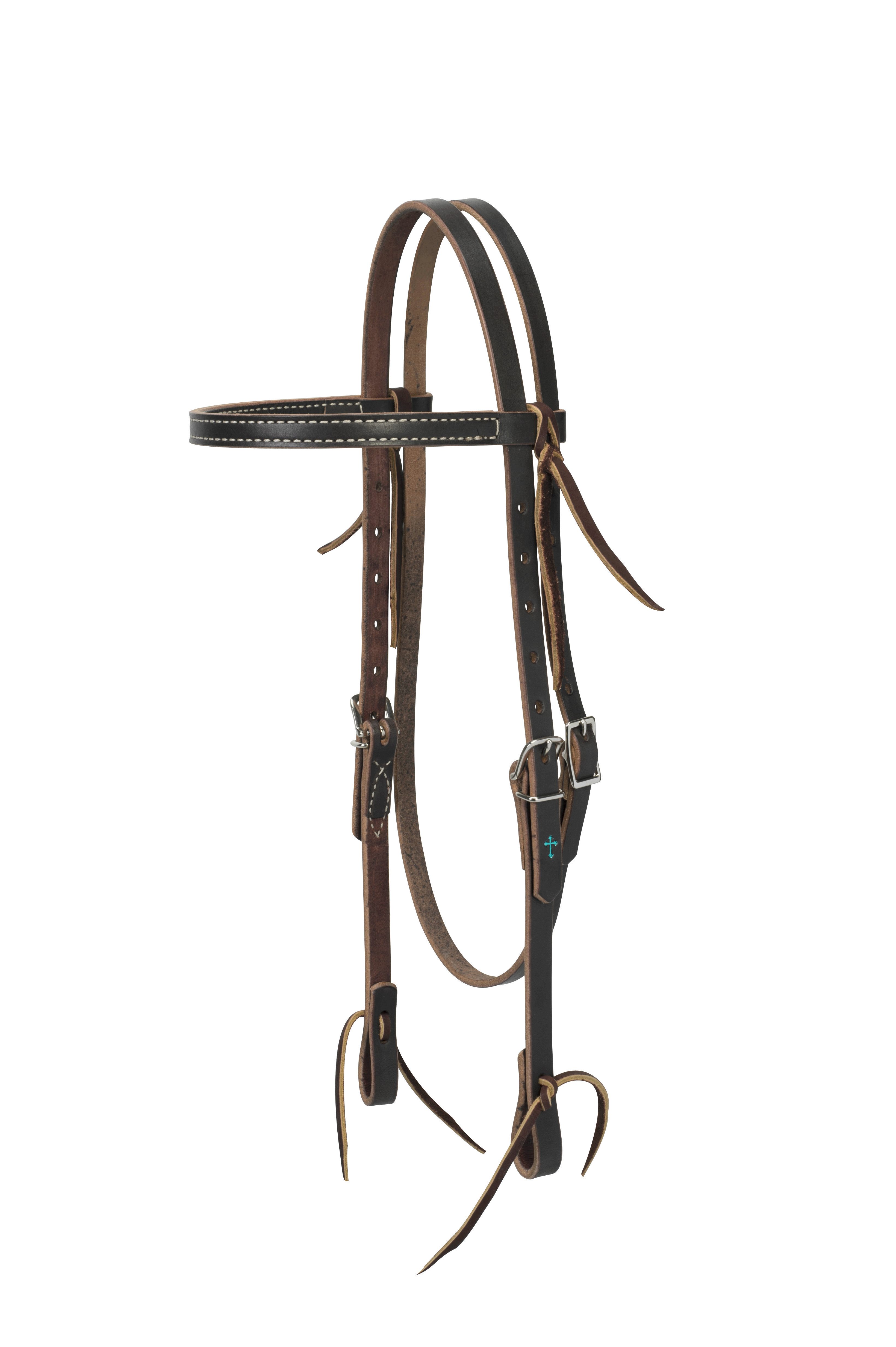Weaver Turquoise Cross Skirting Leather Browband Headstall