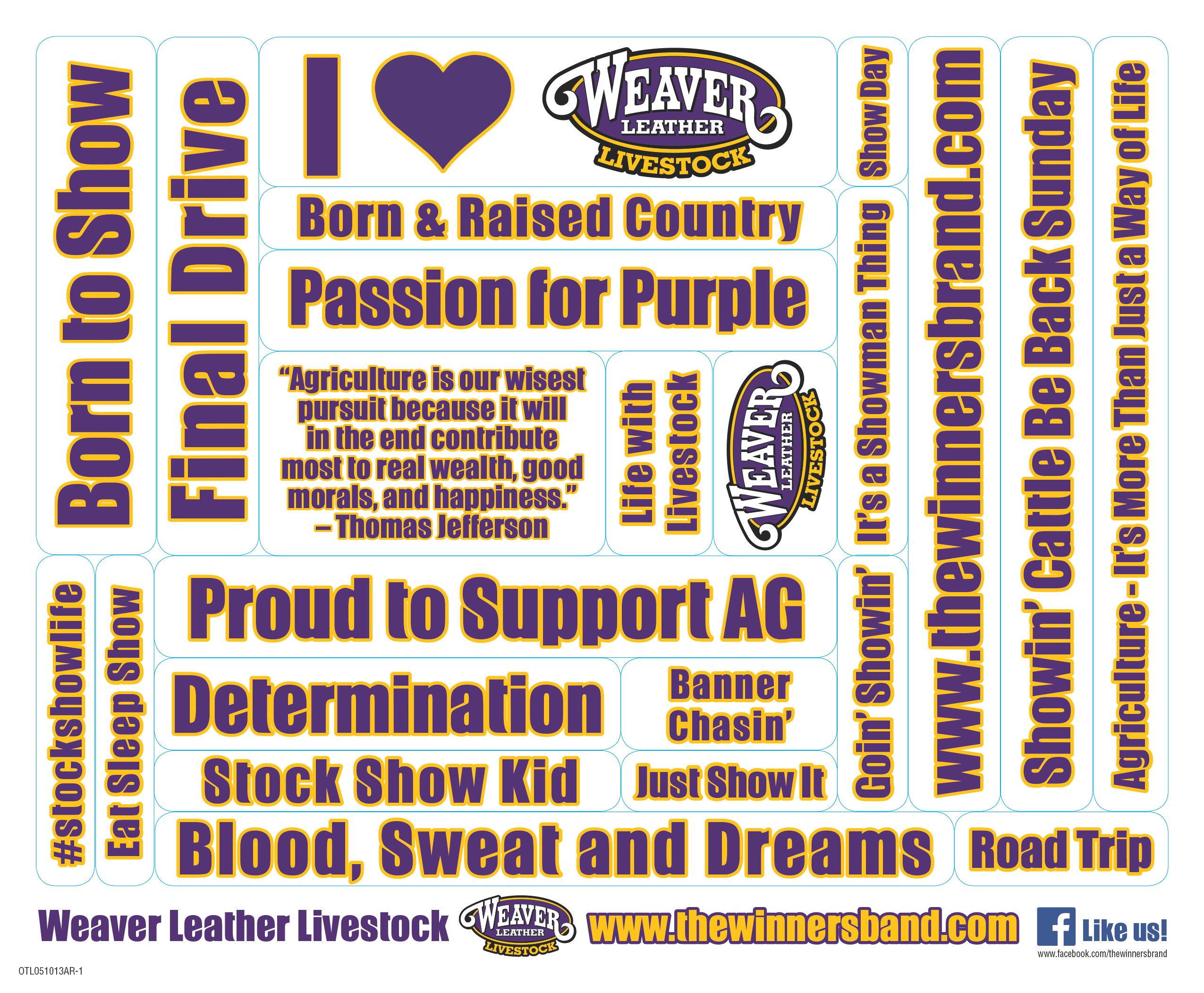 Weaver Livestock Sticker Sheet