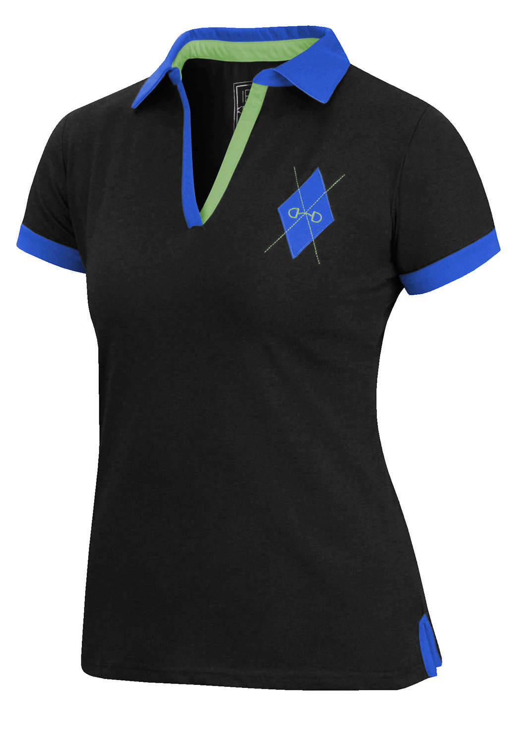 Irideon Womens Argyle Short Sleeve Polo