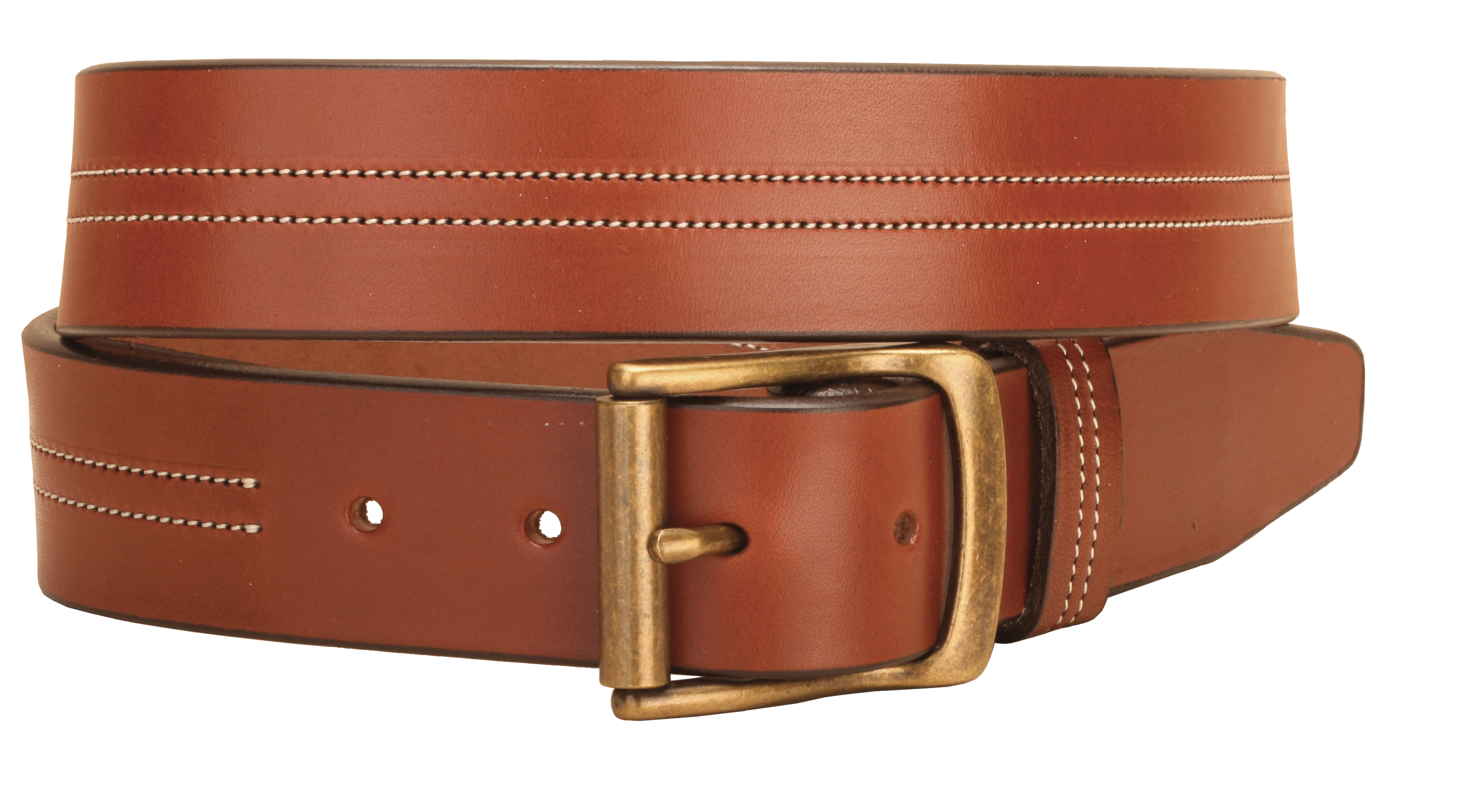 Tory Leather Center Stitched Double Row Leather Belt