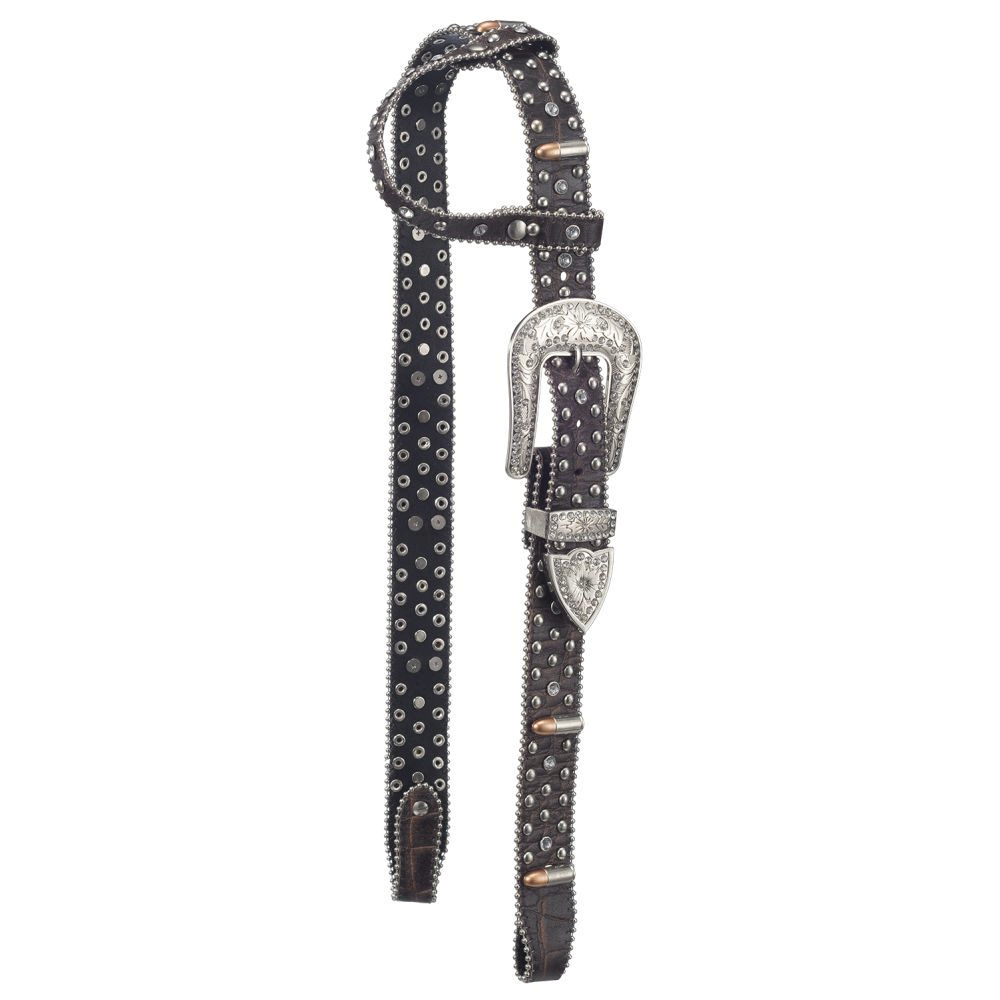 Silver Royal Remington Belt Buckle Bling Single Ear Headstall