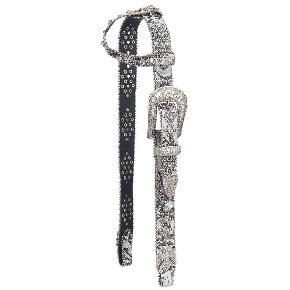 Silver Royal Greyson Belt Buckle Bling Single Ear Headstall