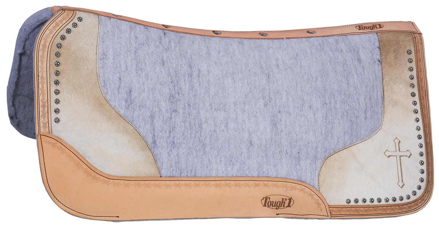 Tough-1 Motif Felt/Hair Contoured Saddle Pad - Cross