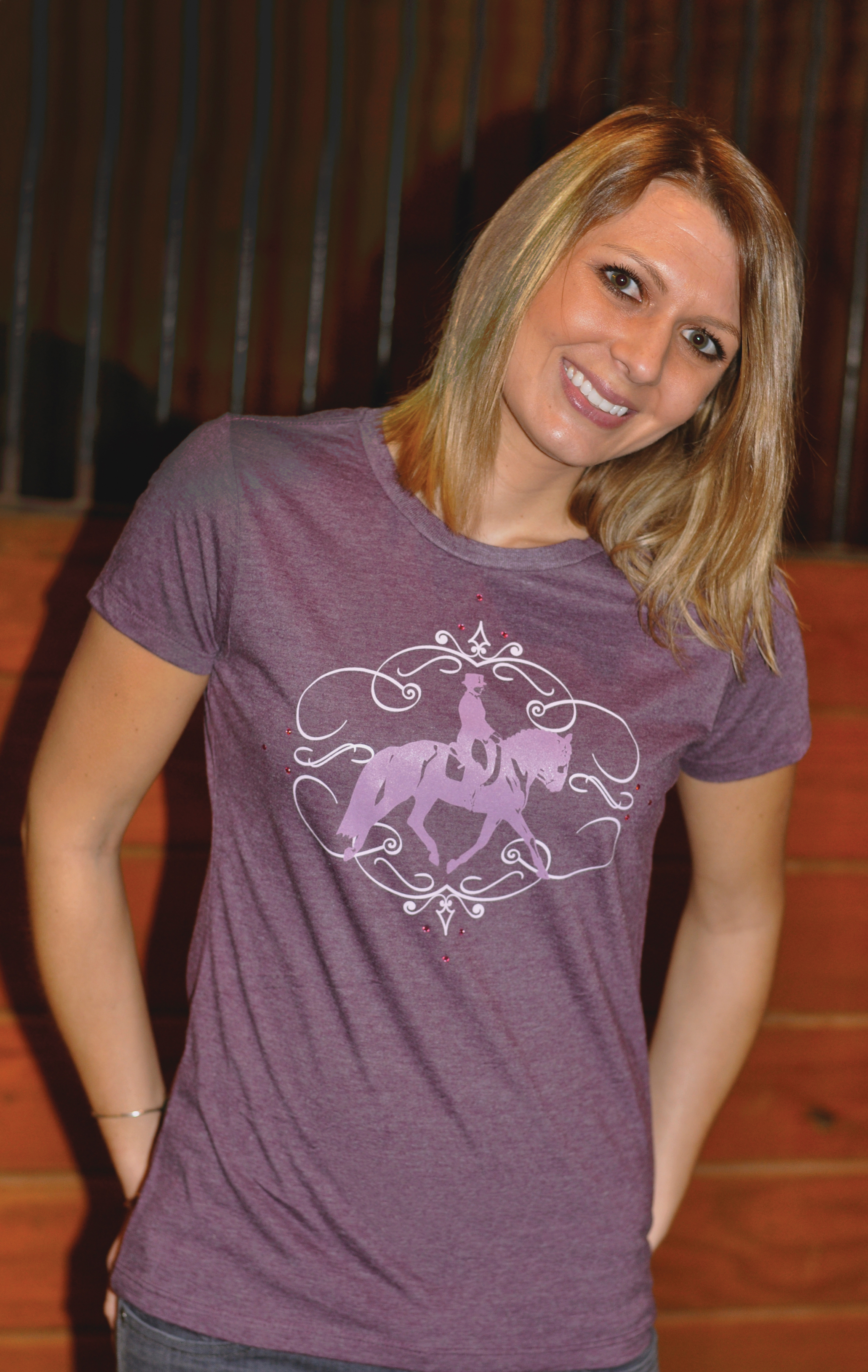 Genuine Ranch Brand Ladies' Swirl Dressage Tee with Crystals