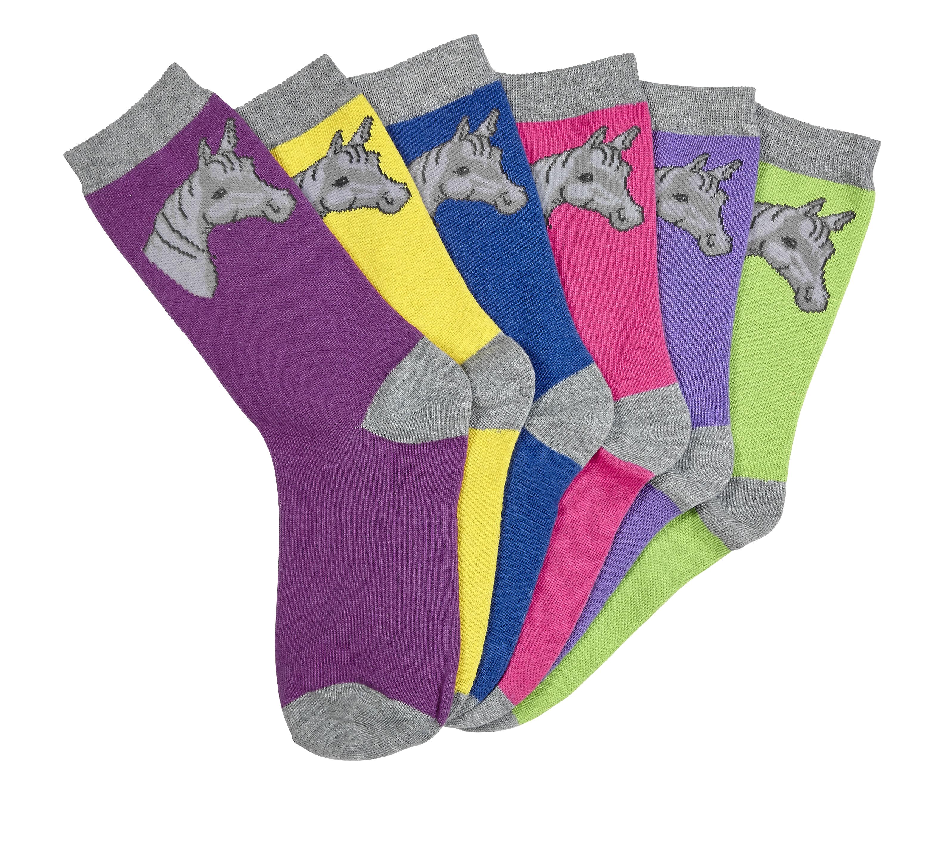 Ladies Horse Head Socks - 6 Pack