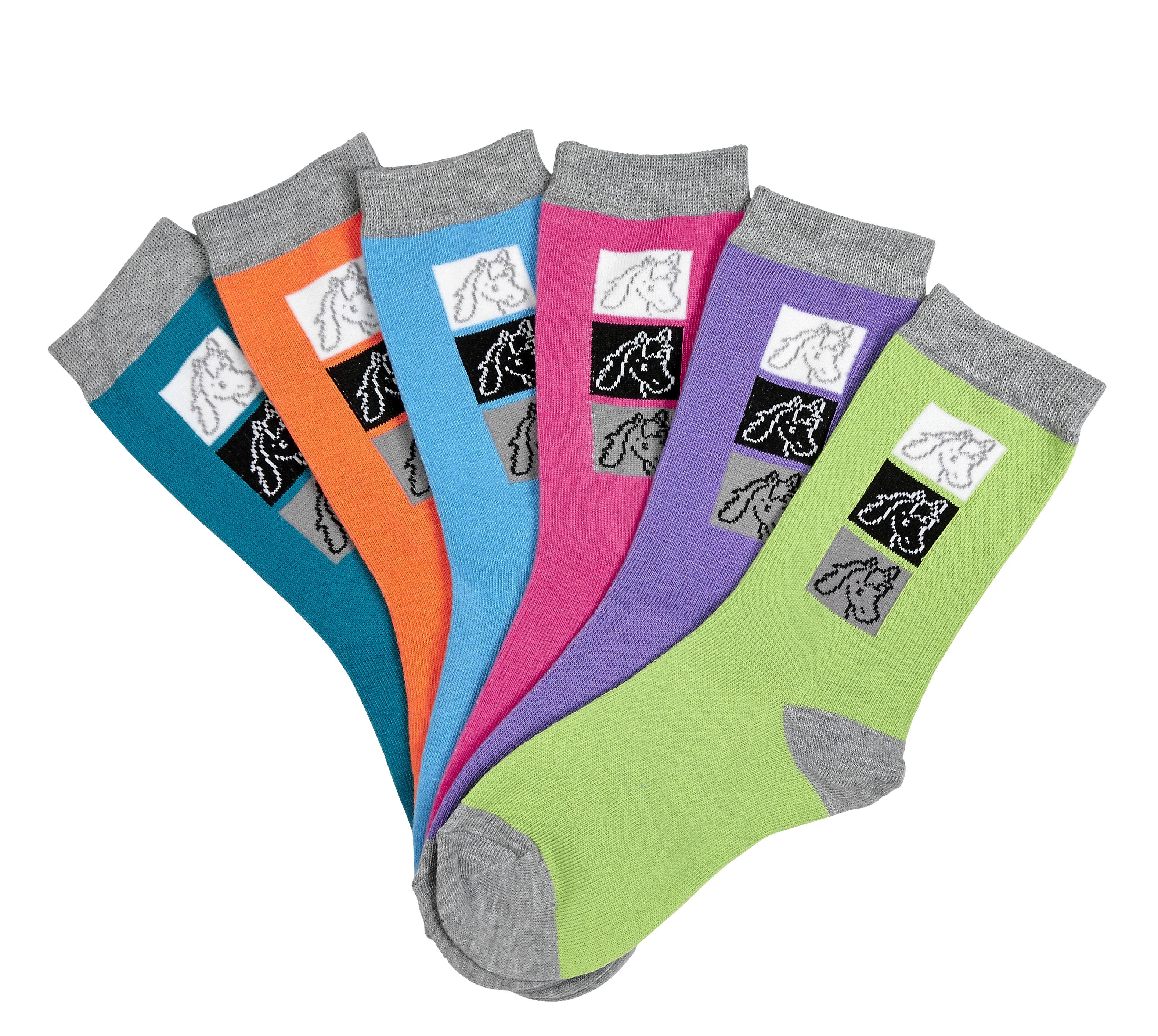 Ladies 3 Horse Head Crew Socks - 6 Pack
