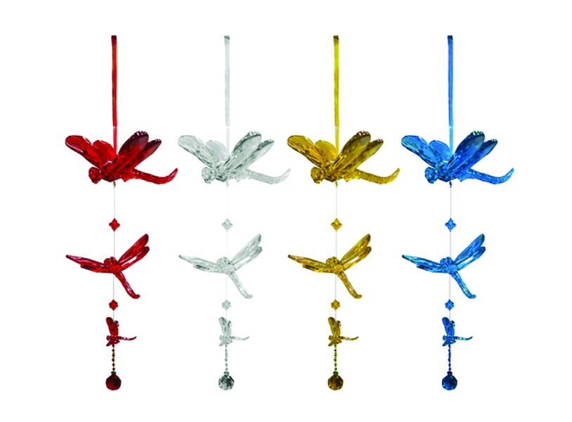 Hanging 3 Dragonflies And Beads Ornament