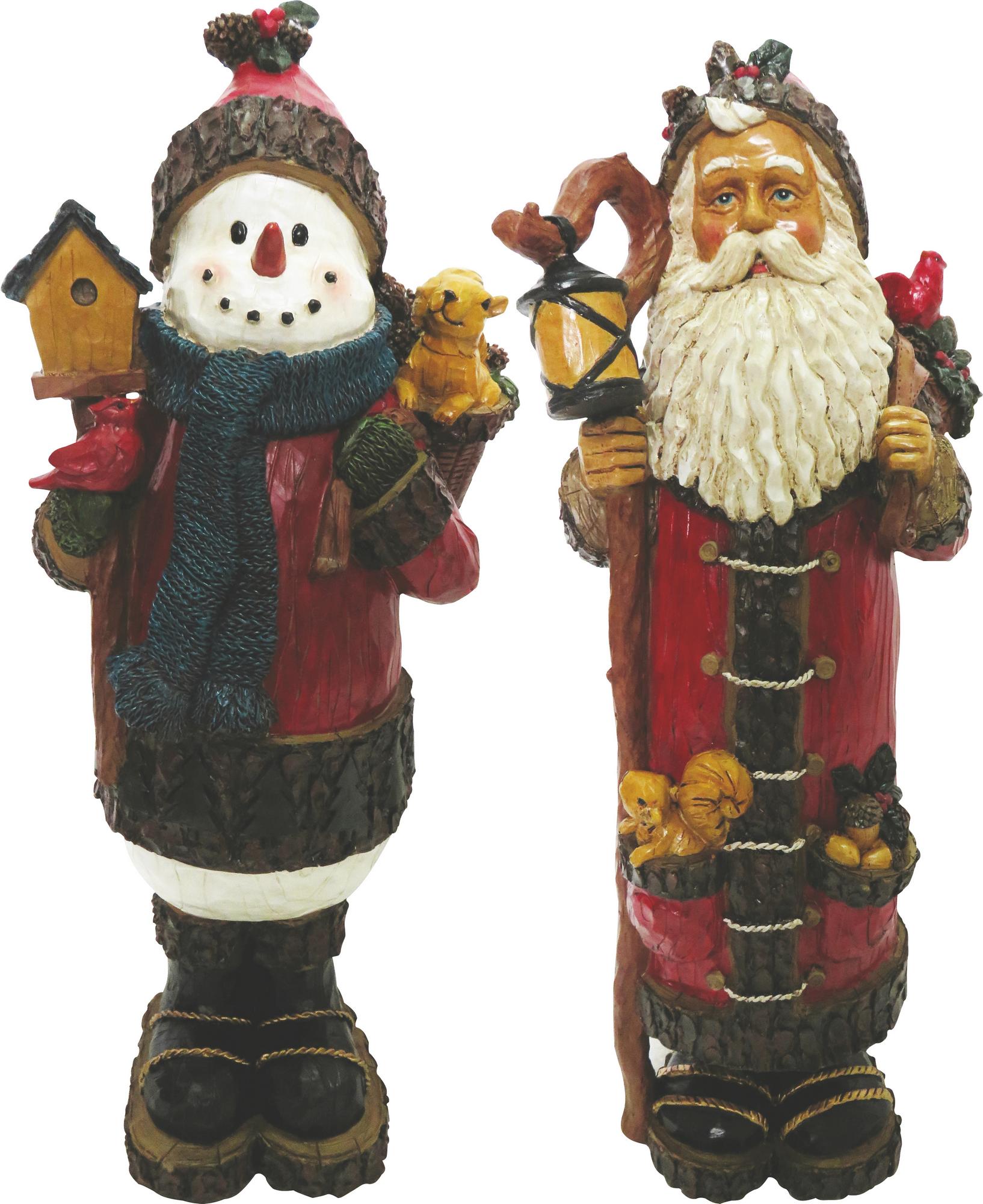 Santa & Snowman Christmas Statues