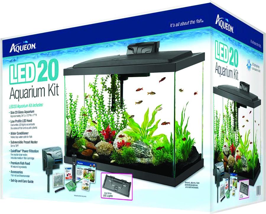 Aqueon starter kit led aquarium 20h fish tank kit complete for 20 gallon fish tank