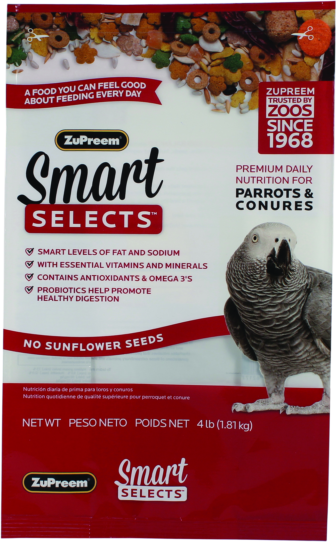 Zupreem Smart Selects Premium Daily Nutrition For Birds - Parrots and Conures