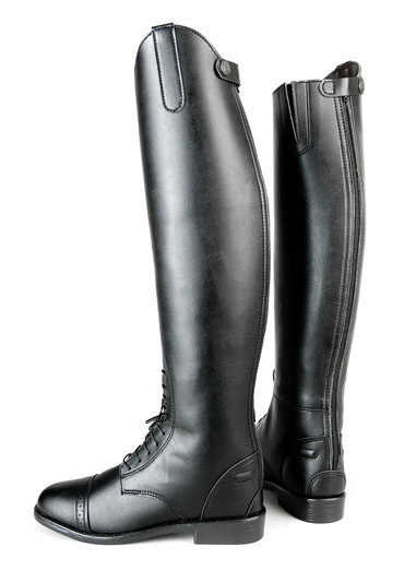 Ladies Zip Back Leather Like Field Boot