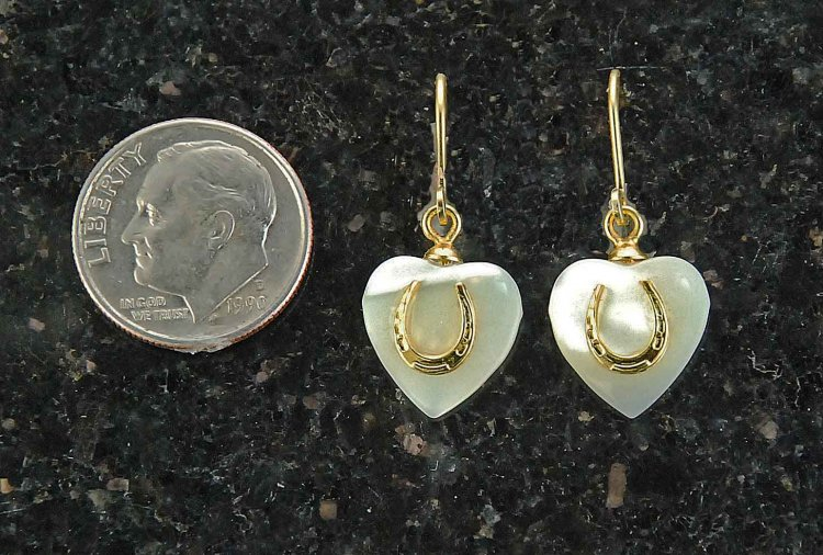 Finishing Touch Heart with Tiny Horseshoe Earrings - Euro Wire - Mother of Pearl