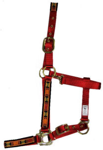 Ronmar Nylon Halter with Snap - Leather Crown/Double Buckle - Red/Yellow Dynasty