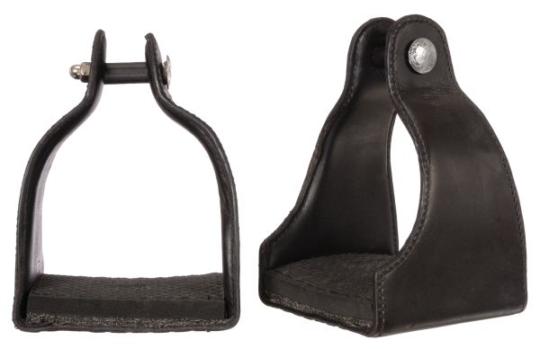 "1"" Leather Covered Padded Endurance Stirrups with 4 1/2"" Tread"