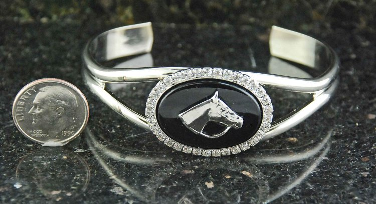 Finishing Touch Oval Stone In Swarovski Crystal with Horse Head Cuff Bracelet - Black Onyx