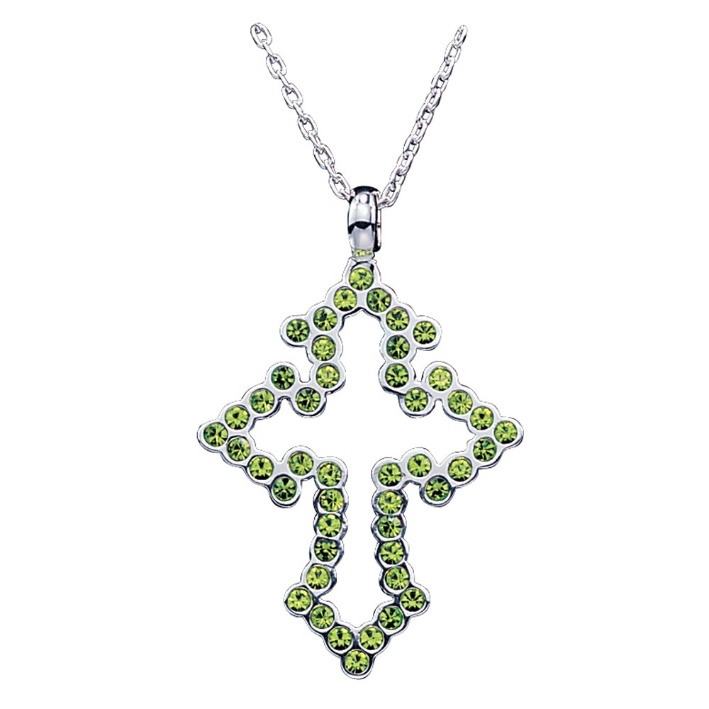 Montana Silversmiths Cross Silhouette Necklace with Green Rhinestones