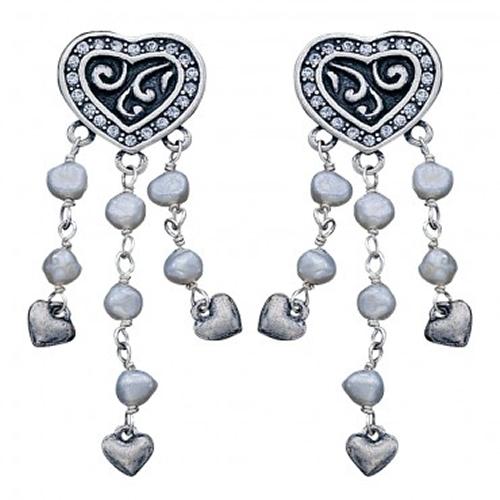 Montana Silversmiths Western Bride Pearl Chandelier CZ Heart Earrings