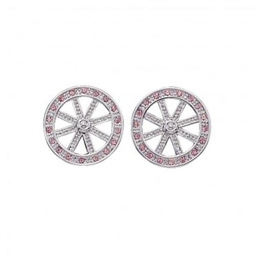 Montana Silversmiths Wagon Wheel with Pink Stones Earrings
