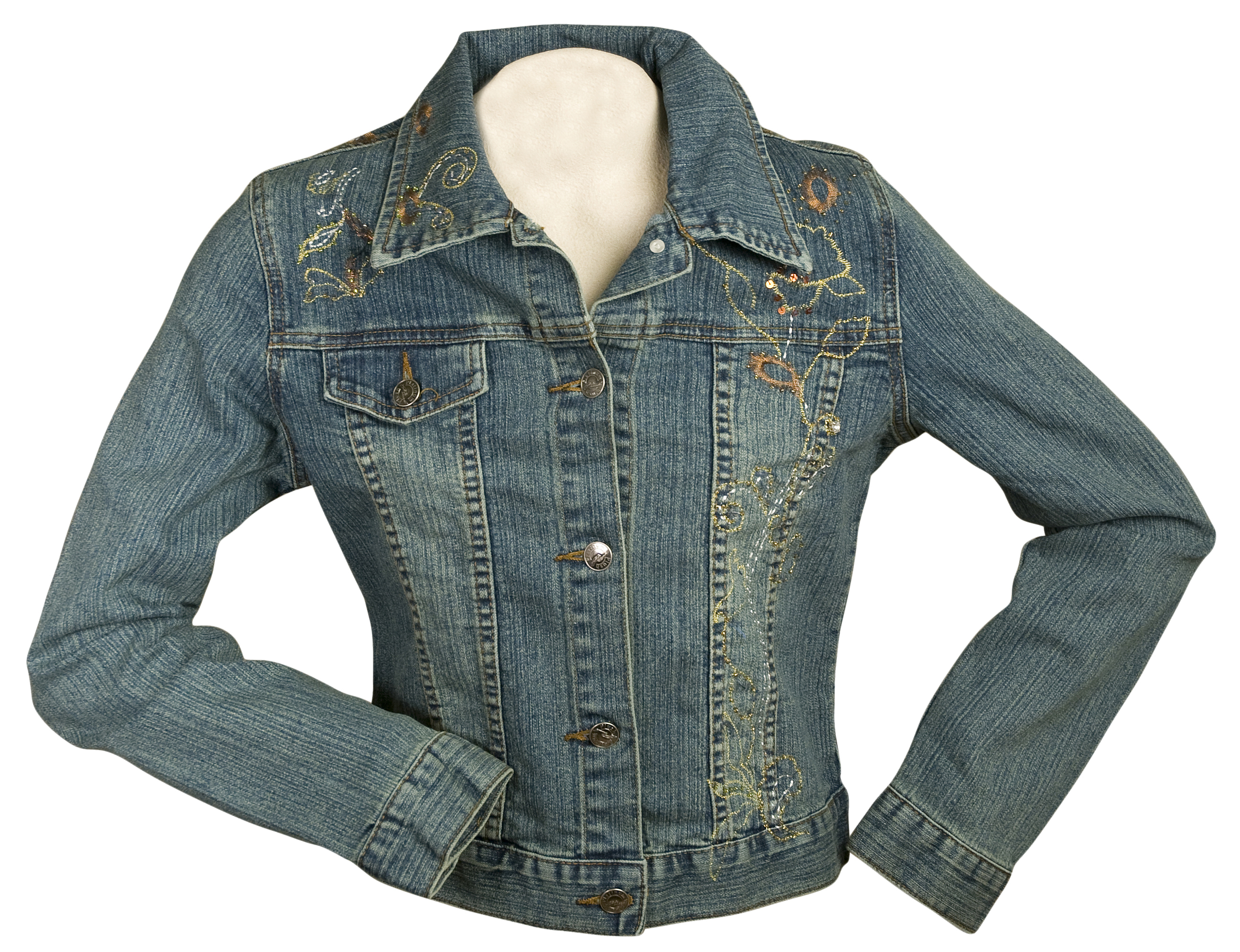 Plush Jean Jacket with Bronze & Gold Embroidery