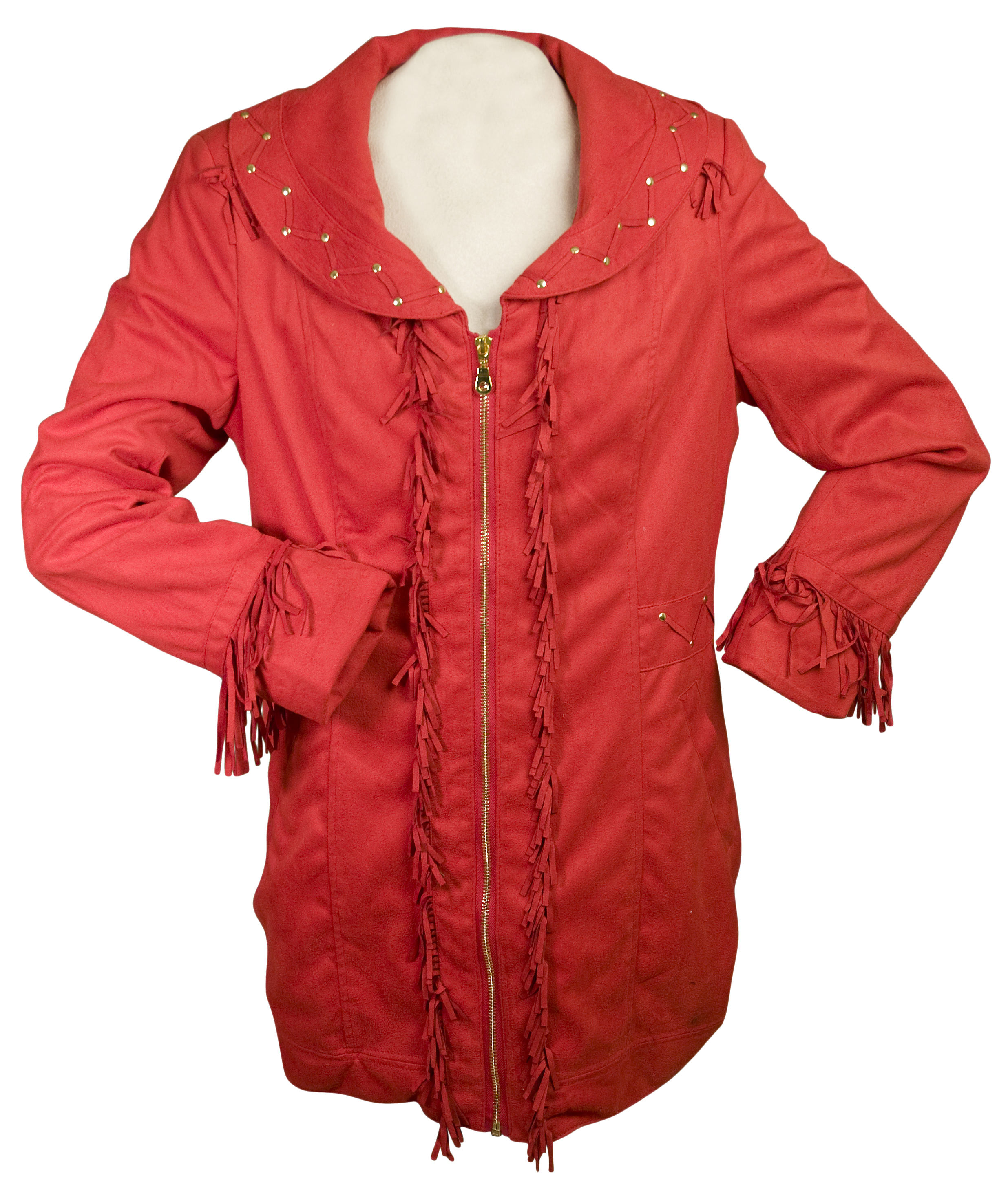 Western Suede Long Jacket with Fringe