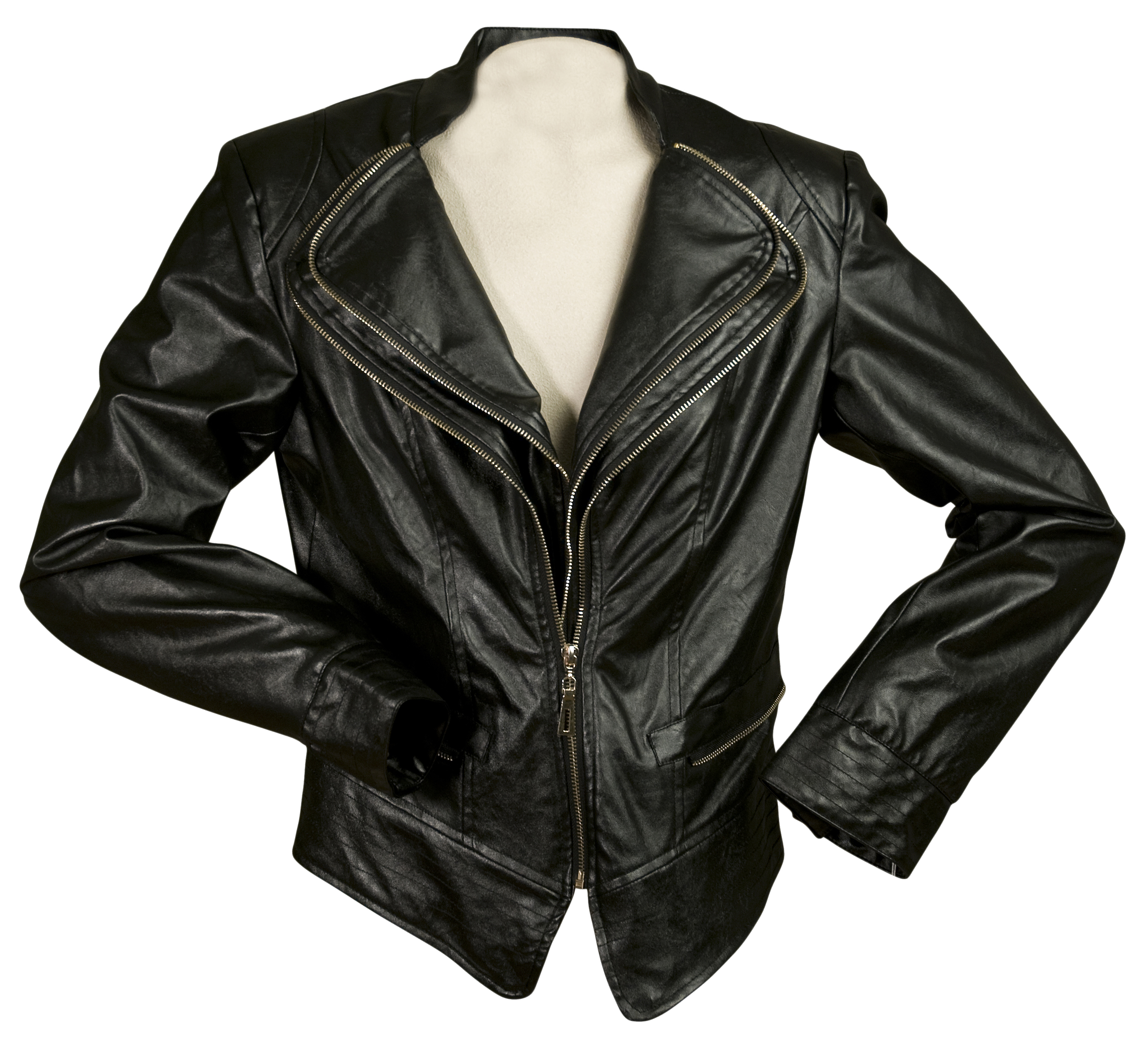 INSIGHT Faux Leather Jacket with Zipper Front