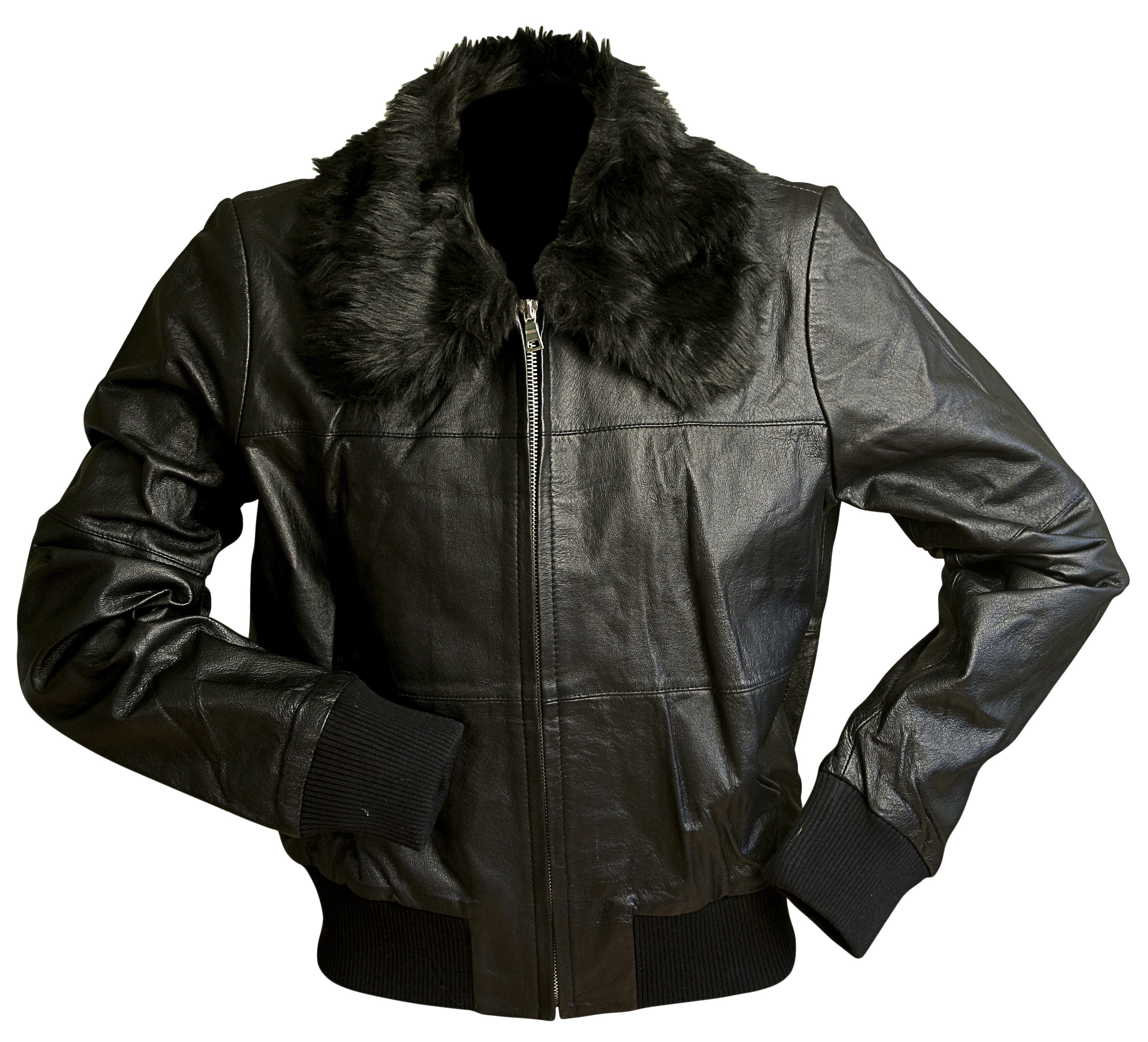 Pamela Dennis Genuine Leather Jacket with Faux Fur Collar