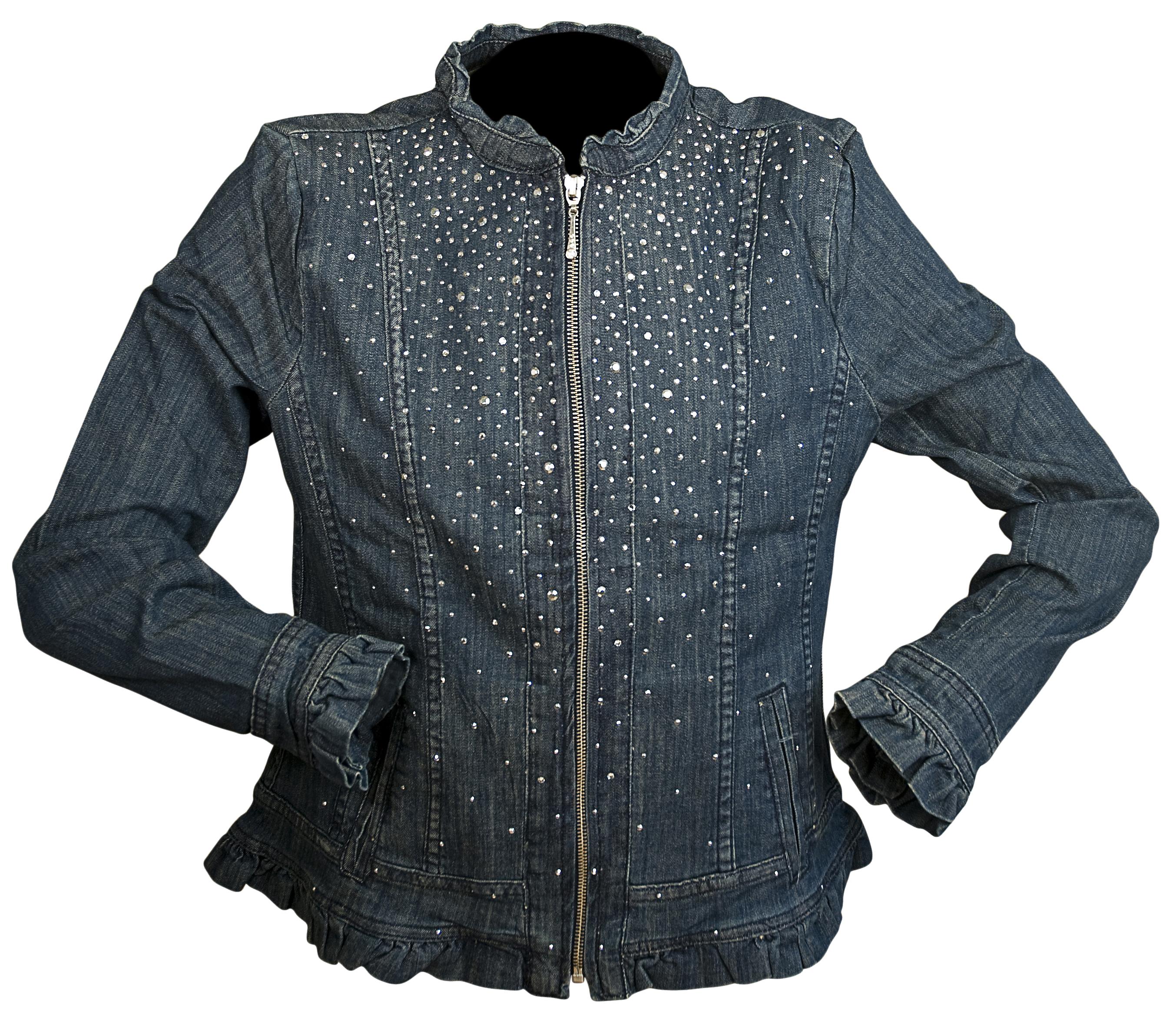 Christine Alexander Denim Ruffle Trim Jacket with Crystals