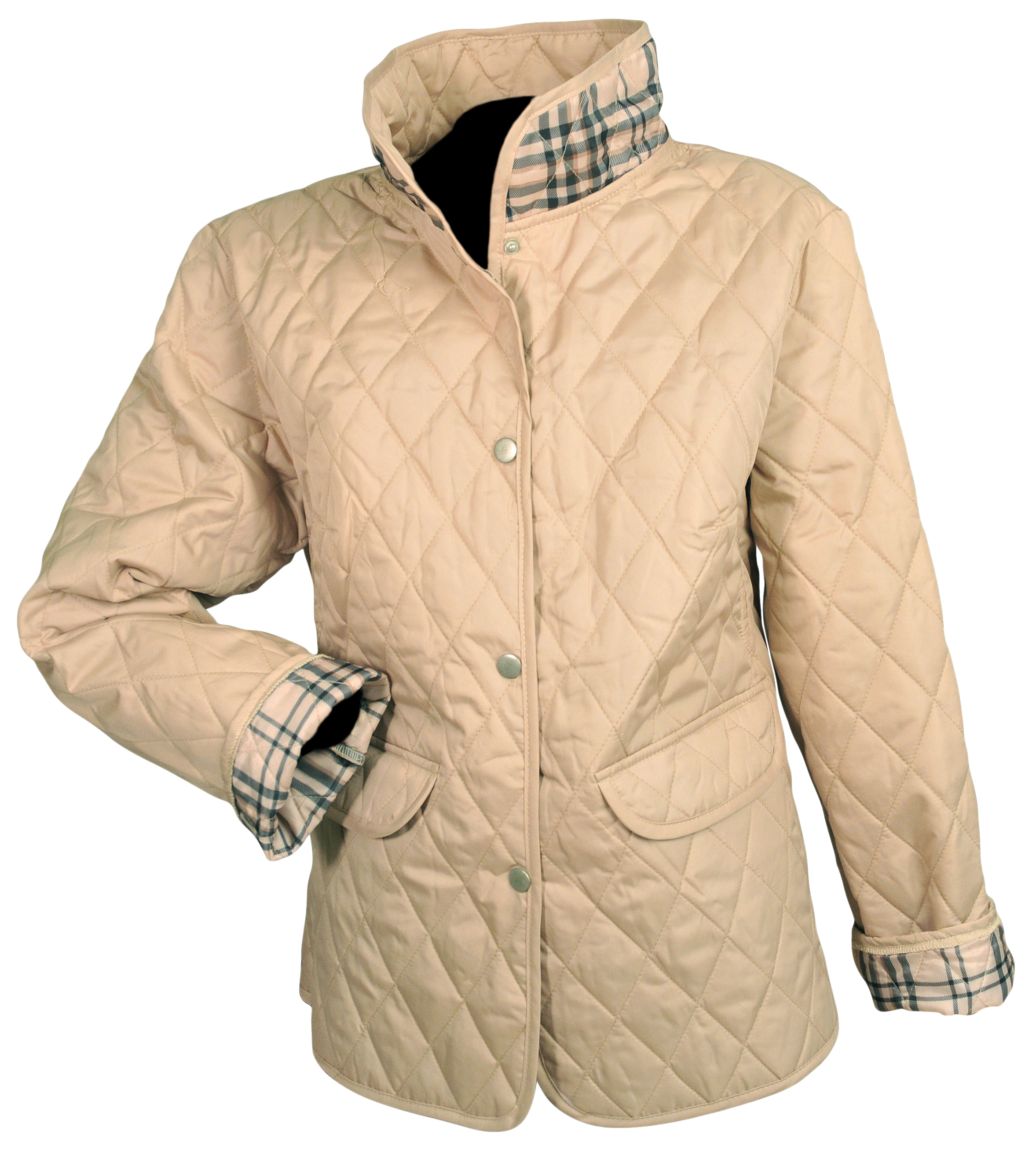 Jane Ashley Quilted Jacket with Tartan Plaid Trim