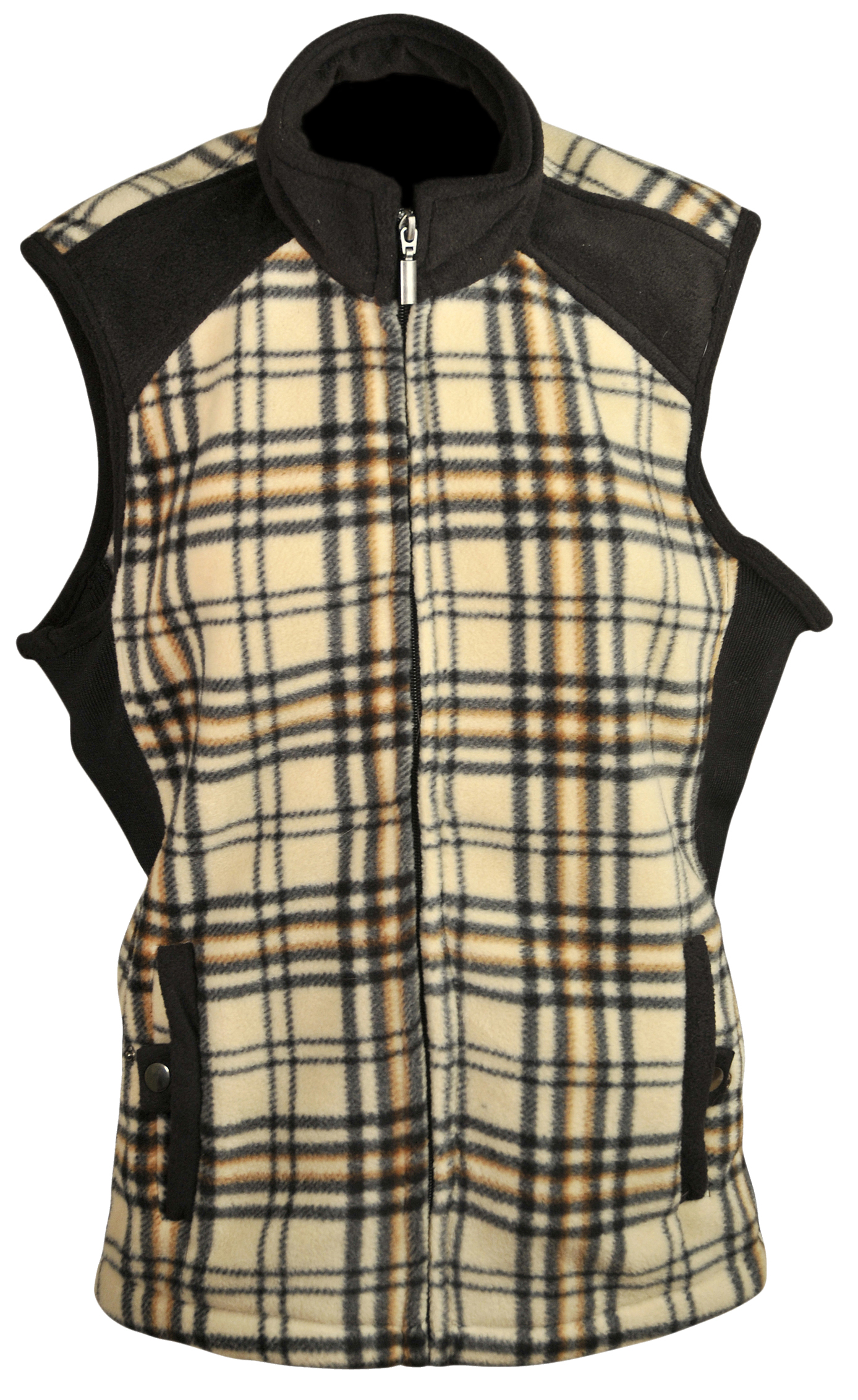 Baker-Style Plaid Fleece Vest