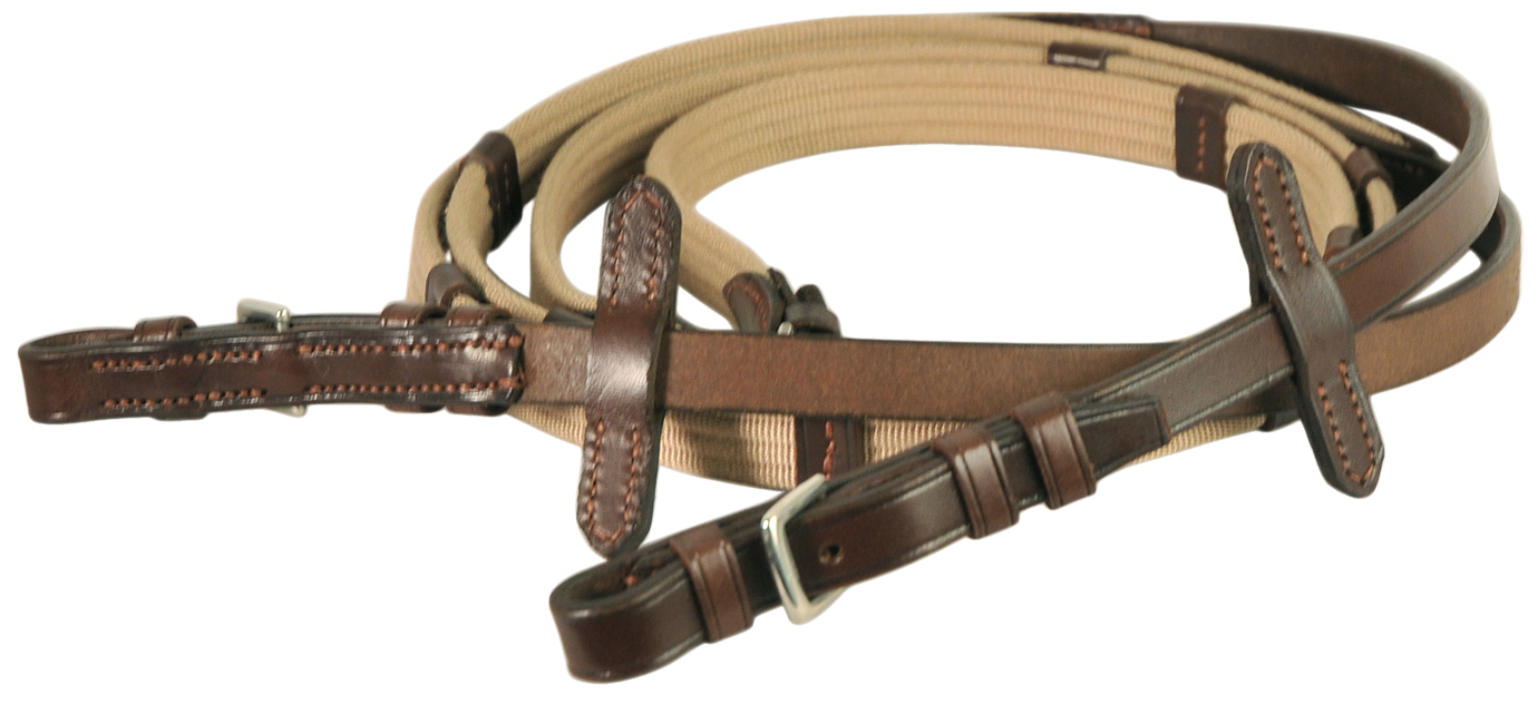 Courbette Web Reins with Stops and Buckles