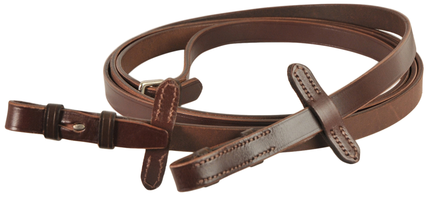 Courbette Plain Leather Reins with Martingale Stop