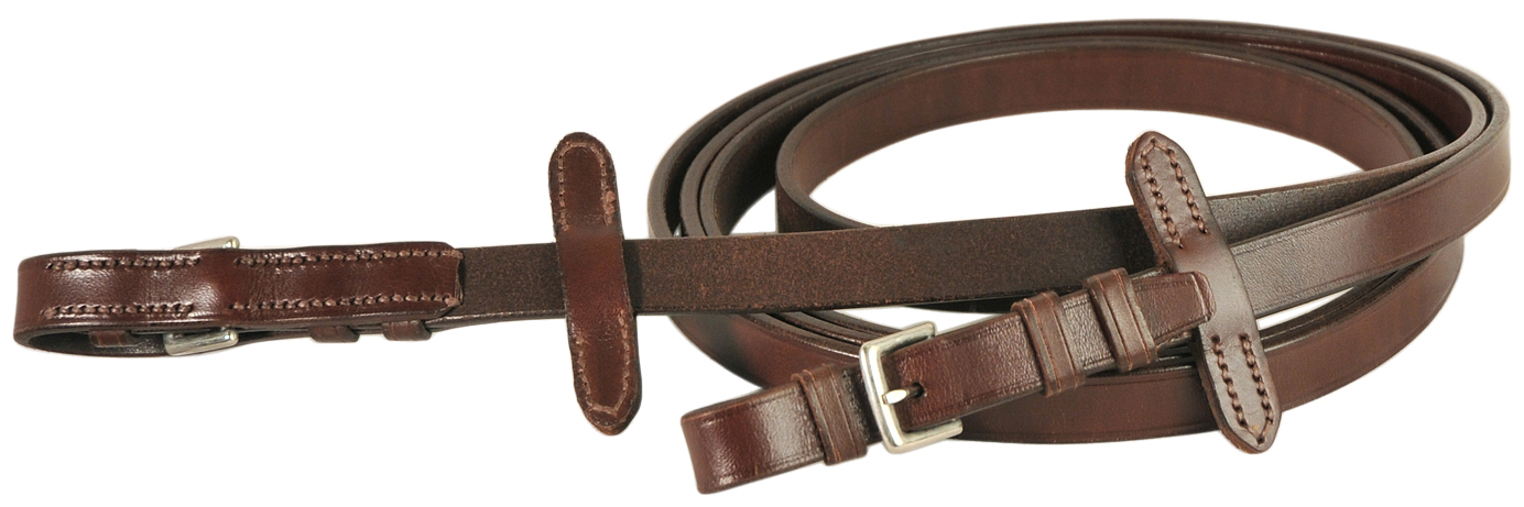 Courbette Plain Leather Reins with Martingale Stops and Buckles