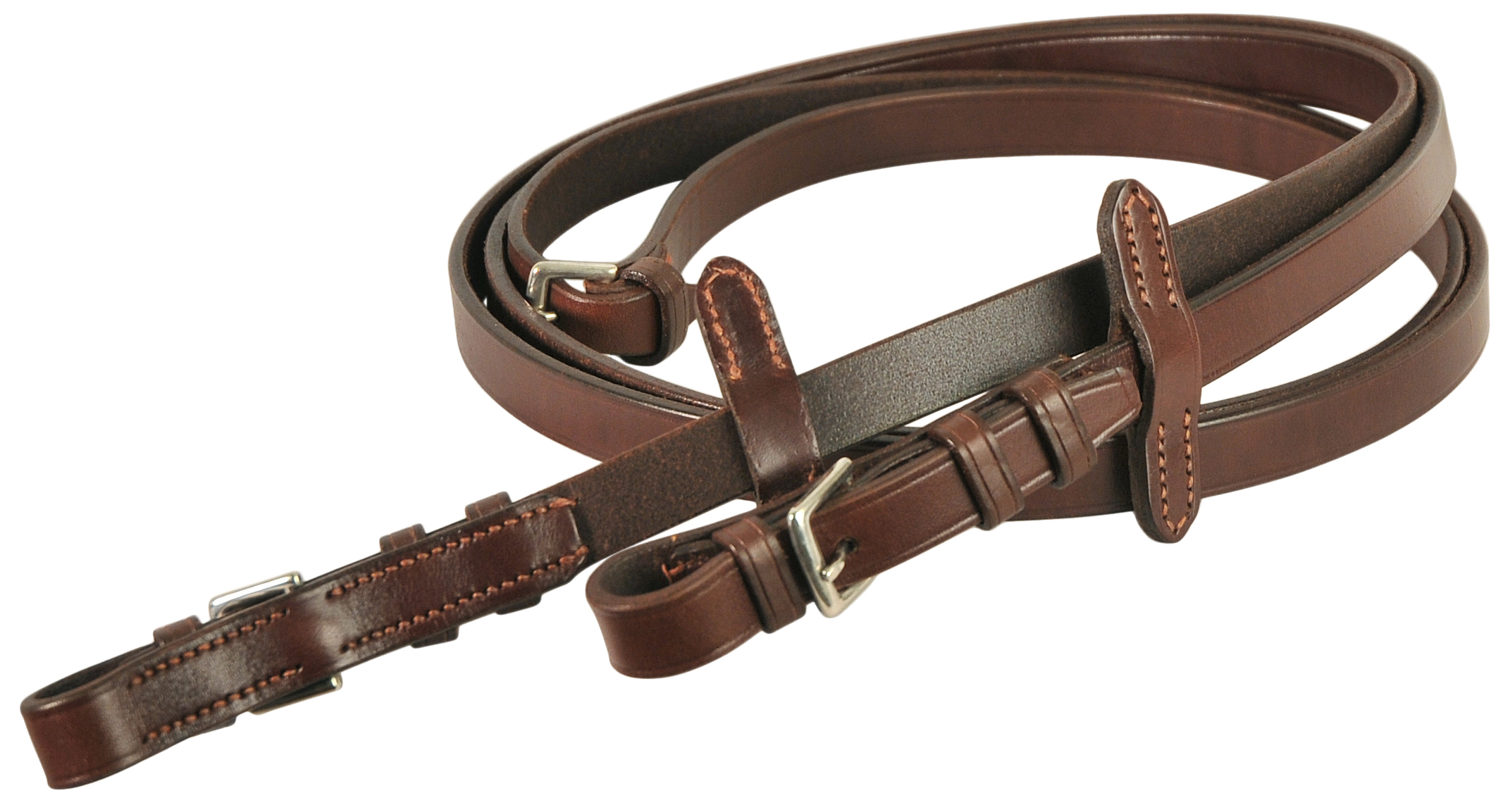 Courbette Plain Leather Reins with Leather Stops and Buckles