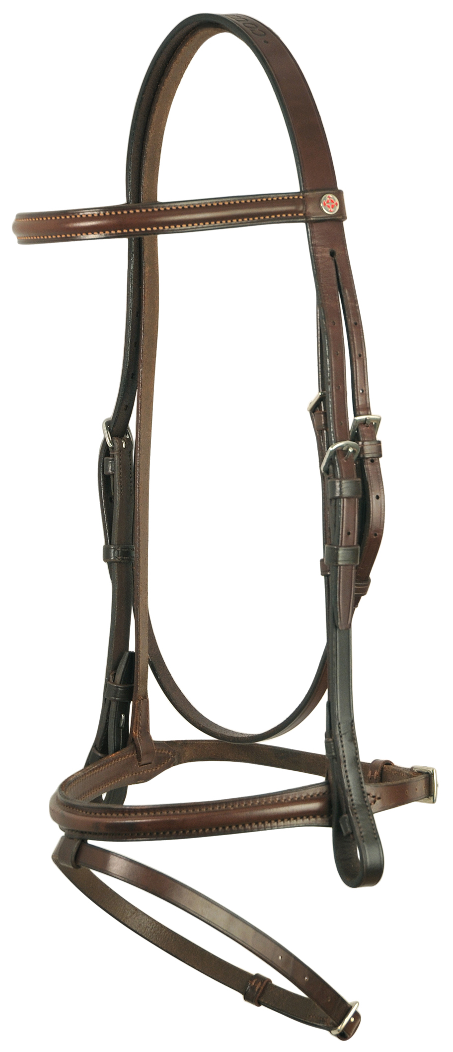 Courbette Premium Plain Raised Dressage Bridle with Flash Noseband - Less Reins
