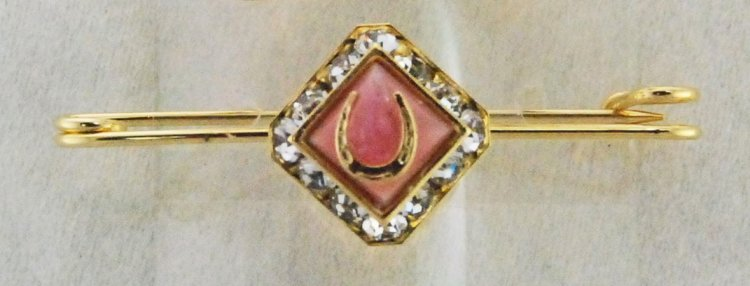 Finishing Touch Square Rondelle Stone & Horseshoe Stock Pin - Pink Mussel