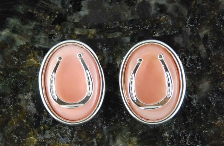 Finishing Touch Oval Stone with Horseshoe Motif Earrings - Pink Mussel