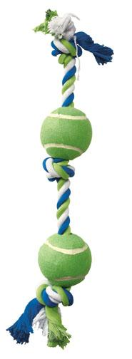 DOGIT Striped Cotton Bone with 2 Tennis Balls