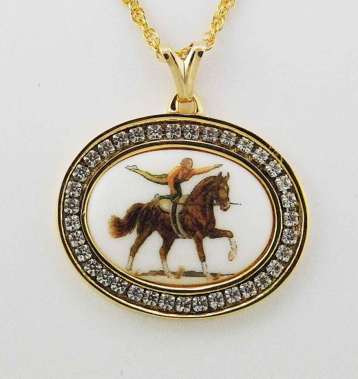 Finishing Touch Finishing Touch 25 X 18Mm Cab With Vaulting Horse In Channel Set Cry Gold
