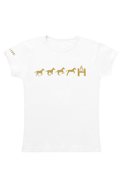 High Line Outfitters Girls Over The H (Jumping Horse) T-Shirt-White