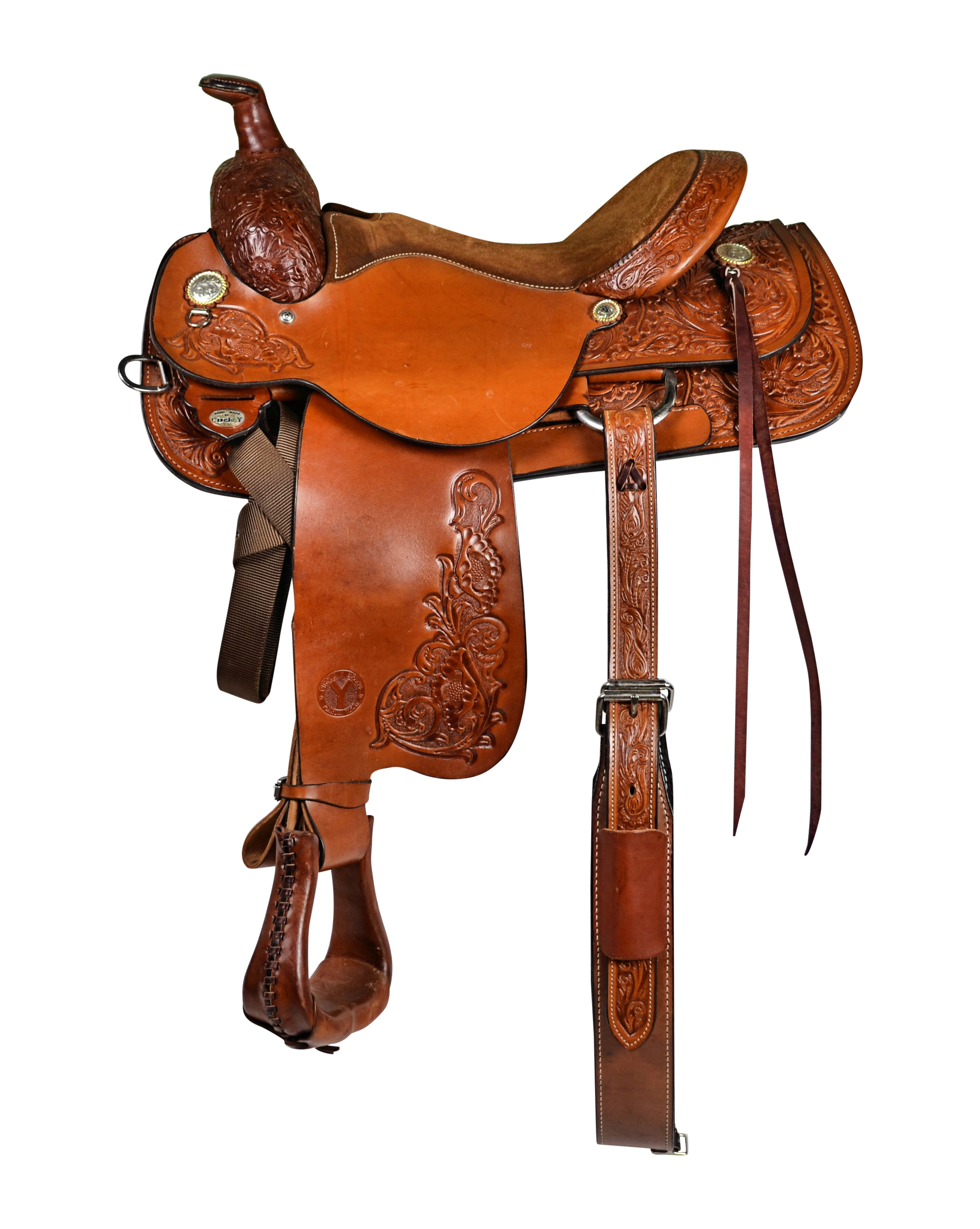 Circle Y Brand 2712 Stampede Roper Saddle - Floral Tooled
