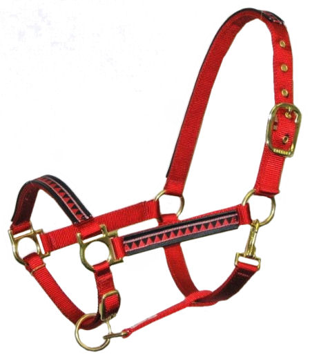 Ronmar Nylon Halter - Leather Crown/Double Buckle - Red Pyramids