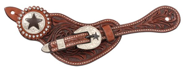 Premium Leather Floral Tooled Spur Straps with Star Hardware